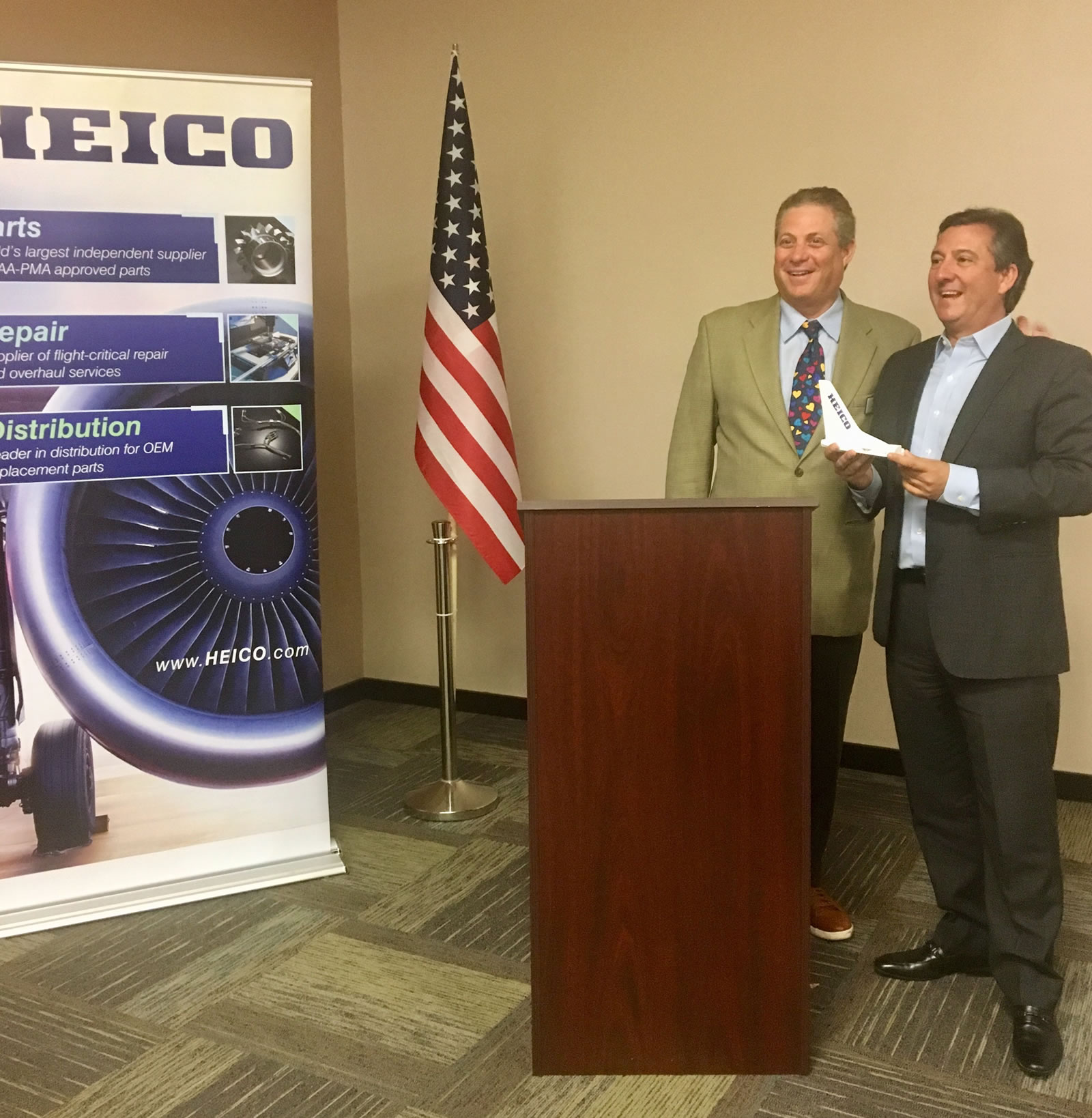 Thank you to our Sponsor HEICO. Pictured are Alex DeGunten (HEICO Business Development Officer) with GMAA President Aviv Tzur.